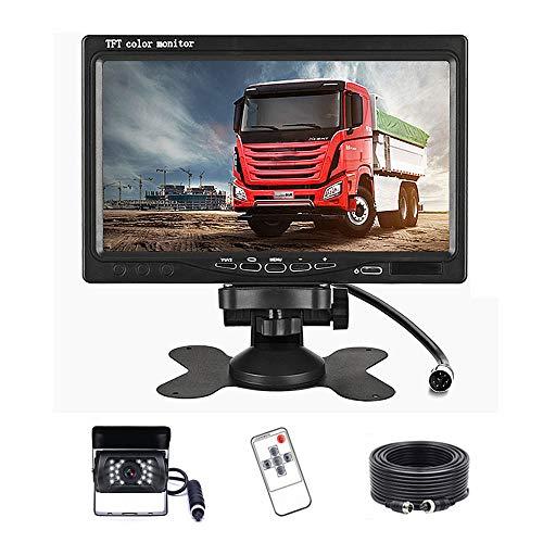 Telecamera Retromarcia per Auto, Podofo 7 pollici HD LCD Specchio Monitor + Telecamera retromarcia Impermeabile IP68 Visione Notturna Kit con Cavo da 20 m, DC 12 V-24 V