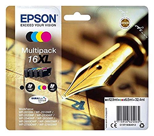 Epson 16 DURABrite Ultra Ink- Cartuccia d'Inchiostro, XL, Multicolore (Black/Cyan/Magenta/Yellow)