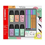 Stabilo Boss Mini Highlighter Pen Set of 6 °F49716 pastellove with 3 Coloured Sign Pens 3 Pens...