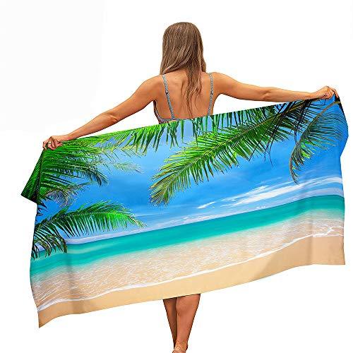 Chickwin Toalla de Playa Grande Rectángulo, Microfibra Absorbente Compacto Resistente Manta de Verano Toalla de Deportes para Piscina Playa Viaje Camping (Playa,80x160cm)