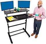 Stand Steady Tranzendesk Two Level Mobile Workstation | Height Adjustable Standing Desk w/Locking Wheels | Multipurpose Stand Up Desk Great for Schools, Presentations, Offices & More! (Black/40 x 28)