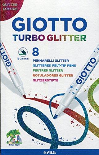 Giotto Turbo Glitter astuccio da 8 pennarelli con inchiostro glitterato, Modelli/Colori Assortiti, 1...