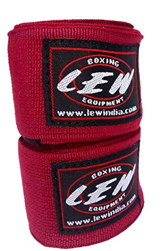 LEW Mexican Style Boxing Cotton/Spandex 180' with Elastic Hand & Wrist Support Hand Wraps (Multicolour, Maroon)