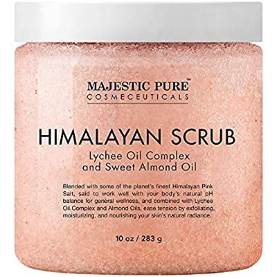 A Massage Body Scrub Ð Majestic Pure Himalayan Salt Scrub is formulated with powerful Natural Ingredients including Lychee berry, Sweet Almond Oil, and various Nutrients for their benefits on skin. Lychee Berry Oil has a soft, delicate scent and is r...