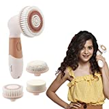 Lifelong LLM126 Electric Portable Face Cleanser and Massager Brush with 4 Brush Heads for Deep Cleansing, Scrubbing, Exfoliating, Removing Blackhead and Massaging (Health and Beauty)