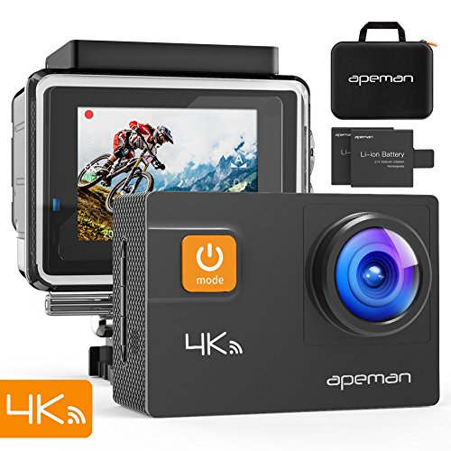 APEMAN A80 Action Cam 4K WiFi 20MP EIS Fotocamera subacquea 40M impermeabile, con valigetta per il trasporto e 24 accessori multipli