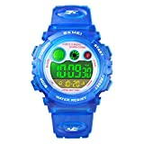 Kids Digital Sport Watch for Boys Girls, Kid Waterproof Electronic Multi Function Casual Outdoor Watches, 7 Colorful LED Luminous Alarm Stopwatch Wristwatch (Navy Blue)