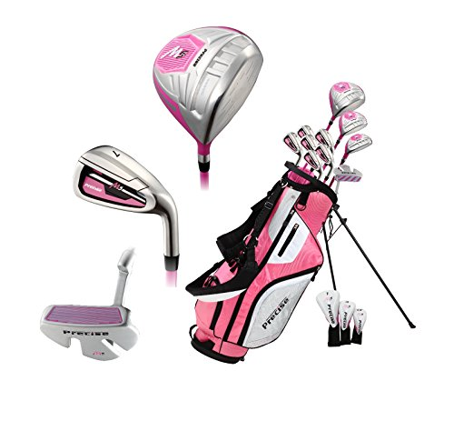 Top Line Ladies Pink Right Handed M5 Golf Club Set, Includes: Driver, Wood, Hybrid, No. 5,6,7,8,9, PW Stainless Steel Irons, Putter, Graphite Shafts for Woods & Irons, Stand Bag & 3 Head Covers