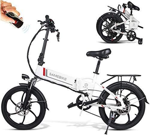 Carsparadisezone Vélo Électrique Pliant, Jusqu'à 25km/h, 7 Vitesses Réglable 20 Pouces 350W avec Batterie Lithium 48V 10,4AH Rechargeable, Vélo de Montagne Adulte Unisexe