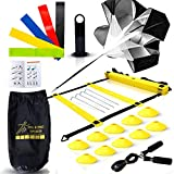 Big B Pro Sports Speed & Agility Training Set | Includes Ladder, 10 Cones, Running Parachute, Jump...