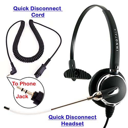 Monaural Phone Headset with Tube Microphone for Panasonic, att, Vtech, Uniden, Grandstream Compatible with Plantronics QD 2.5 mm Phone Headset Corded for Call Center