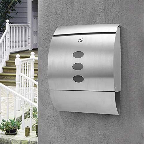COOCHEER Briefkasten, Edelstahl Wandbriefkästen mit Sichtfenstern, Elegantem Arc Design Edelstahl Briefkasten Abschließbar mit 2 Schlüssel
