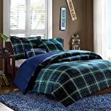 Mi Zone Cozy Comforter Set Cabin Lifestyle Plaid Design, All Season Bedding Matching Shams, Decorative Pillow, Piece Blue, Full/Queen, 4 Piece