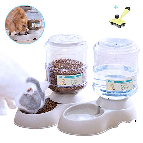 XIAPIA Automatic Cat Food Feeder and Water Dispenser in Set with Slicker Brush Gift for Small Medium Dog Pets Puppy Kitten,Big Capacity 1 Gallon x 2