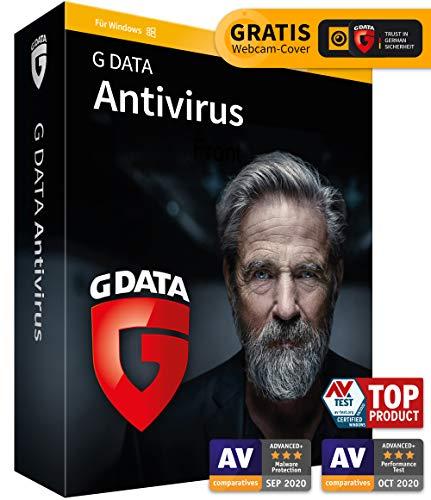 G DATA Antivirus 2021, 1 PC - 1 Jahr, DVD-ROM inkl. Webcam-Cover, Virenscanner für Windows 10 / 8 / 7, Made in Germany - zukünftige Updates inklusive