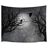 Mystic Fog Forest Tapestry Gothic, Birds at Branches On Creepy Jungle at Deep in Dark Forest Tapestry Wall Hanging, Halloween Tapestry Blanket Wall Decor for Bedroom Living Room Dorm, 71X60IN