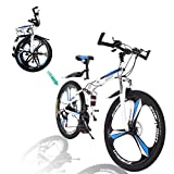 Gywlyxgs Folding Mountain Bike 26in 21 Speed Bicycle Full Suspension MTB Bikes for Adult Teens(Ship from US) White