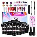 Kit Uñas de Gel, Abody Polygel Kit Gel de Extensión de Uñas, 10 Colors Uñas de Gel, con Base y Capa Superior, 6 Colores Brillos, 12 Nail...