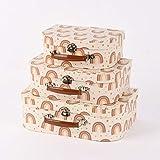 SCHÖNER LEBEN. Sass & Belle - Juego de 3 maletas decorativas, varios tamaños, color crema pastel