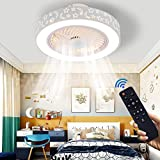 LCiWZ Ceiling Fan with Lights 20 in,ceiling fans indoor with light 72W,Remote Control Dimmable Adjustable 3 colors 3 Files,LED Ceiling lighting Fixture,Enclosed Low Profile,Flush mount Ceiling Fans Lights,1/2h Timer