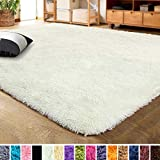 LOCHAS Ultra Soft Indoor Modern Area Rugs Fluffy Living Room Carpets for Children Bedroom Home Decor Nursery Rug 3x5 Feet, Pale Yellow