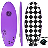 KONA SURF CO. The 4-4 Surfboard for Beginners Kids and Adults - Soft Top Foam Surfboards for Beach – Surf as a Boogie Board Bodyboard or Softboard - Includes Fins and Leash in Purple sz:4ft 4in