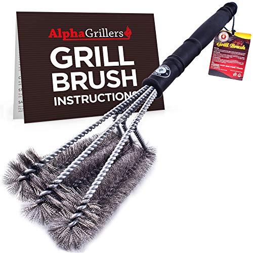 Alpha Grillers 18' Grill Brush. Best BBQ Cleaner. Safe for...