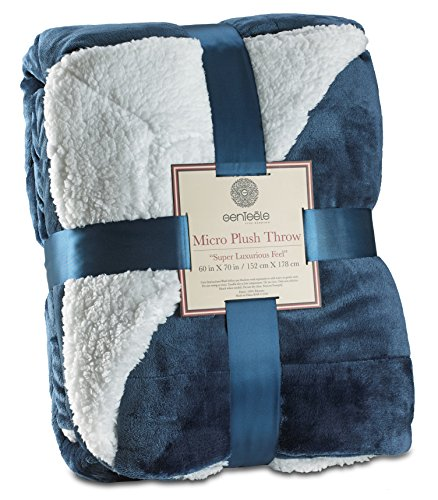 Genteele Sherpa Throw Blanket Super Soft Reversible Ultra Luxurious Plush Blanket (60 inches x 70 inches, Navy)