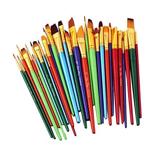 Pinceles finos de 30 piezas, juego de pinceles hechos a mano - Para acuarela, aceite, E