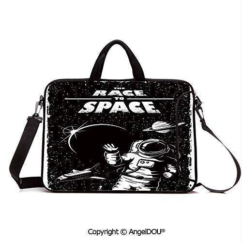 AngelDOU Customized Neoprene Printed Laptop Bag Notebook Handbag The Race to Space Retro Image with Space Crafts Planets Astronaut vs Cosmonauts Compatible with mac air mi pro/Lenovo/asus/acer Bl