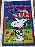 Snoopy Woodstock 4th of July 28x40 in. House Flag Red Summer (Red Lettering) Double Sided