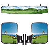 10L0L Golf Cart Folding Side Mirror and Rear View Mirror Combo for...