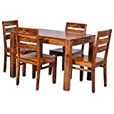 SIDDH FURNITURE Wooden Solid Sheesham Wood Dining Table 4 Seater   Dining Table Set   Home Dining Room Furniture   Teak Wood Dining Table 4 Seater   Natural Brown Finish (Mason)