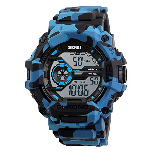 SKMEI Boys Watches Digital Sports Wristwatches Outdoor Military Style with Alarm LED Waterproof Stopwatch