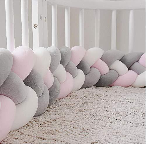 CULASIGN Bettumrandung, 220cm Baby 4 Weben Nestchen Bettumrandung Kantenschutz Kopfschutz Geflochtene Stoßfänger Dekoration für Krippe Kinderbett (Rosa+Weiß+Grau+Dunkelgrau)