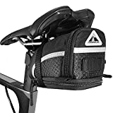 MARQUE Bike Saddle Bag - Bicycle Bag Under Seat Storage Bag for Road, Mountain and Commuter – Expandable Pouch Pack for Extra Storage – Easy to Install with Extra Wide Opening - Cyclist Gift