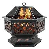 F2C Outdoor Heavy Steel 24 inch Fire Pit Wood Burning Fireplace Patio Backyard Heater Steel Hex Shaped Firepit Bowl
