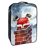 Caja de almacenamiento para zapatos de viaje y uso diario, Santa Claus escalando chimenea, organizador portátil impermeable hasta 12 yardas con doble cremallera y 4 bolsillos