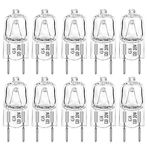 G8 Light Bulbs 20Watt 120Volt Halogen Light Bulb G8 Base Bi-Pin Shorter 20W T4 JCD Warm White Under Cabinet Puck Lighting Replacements,10Pack