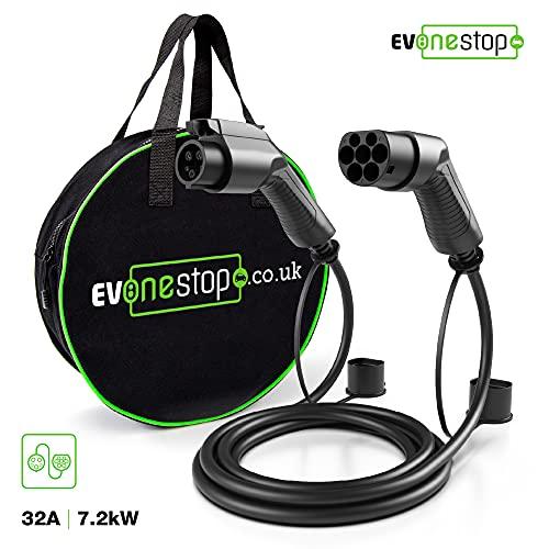 EV/Cable de Carga para vehículos eléctricos | Tipo 1 a Tipo 2 | 32 amperios (7.2kW) | 10 Metros | Estuche de Transporte Gratuito |