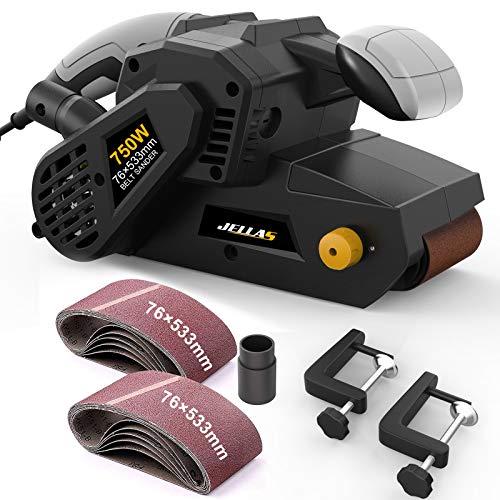 Ponceuse à Bande Jellas, 750W Ponceuse électrique avec 10 75x533mm Bande Ponceuse, Contrôle de vitesse variable, Adaptateurs d'aspiration 2 en 1 et Sac à poussière, BS02