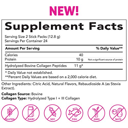Pink Stork Total Collagen Powder Protein Sticks: 48 Single Serving Packets, Peach Berry Flavor, Hydrolyzed Bovine Collagen Peptides Drink Powder, Healthy Hair Skin and Nails + Weight Loss, Women-Owned 2