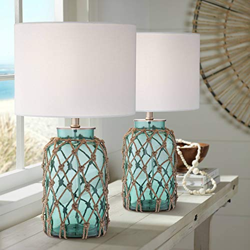 Crosby Cottage Nautical Accent Table Lamps Set of 2 Coastal Blue...