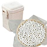 2.2Lb Ceramic Pie Weights Baking Beans Pie Crust Reusable 10mm Weights Natural Ceramic Stoneware with Wheat Straw Container (35 Oz Total) (White)