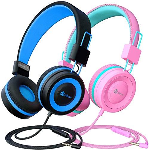 2 Pack Casque Audio Enfant, iClever Ecouteurs Enfants Filaire, Bandeau Réglable avec Volume Limité, Ecouteurs Pliable Enfants pour l'Ecole, Smartphone, Tablette, Kindle