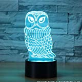 Solo 1 pieza Owl 3d Light Colorful Touch Control remoto 7 cambio de color Led Night Light Novedad Led Usb 3d Light Accessories