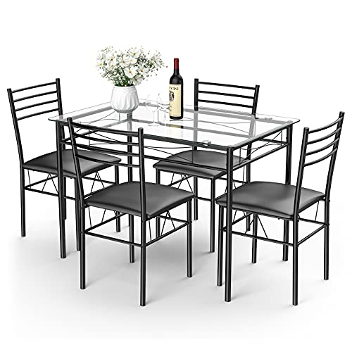 Tangkula Dining Table Set, 5 Pieces Dining Set with Tempered Glass Top Table and 4 Chairs, Kitchen Dining Room Furniture, Black