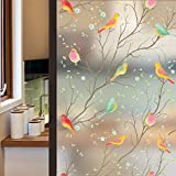 Coavas Privacy Window Film Opaque Non-Adhesive Frosted Bird Window Film Decorative Glass Film Static Cling Film Bird Window Stickers for GF-WF-90-2B Home Office 35In. by 78.7In. (90 x 200Cm)