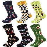 RedMaple Lot de 6 paires de chaussettes colorées pour homme Motif fantaisie en coton ,Aliments et Fruits,EU 39-46(UK 6-11.5)