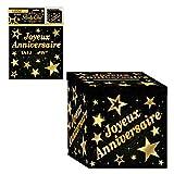 SLA Urne en Carton Joyeux Anniversaire Noir et doré - Doré - Taille Unique